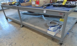 "12' X 68"" ROLLING STEEL TABLE"