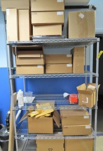 RACK WITH STRATASYS MDL. 9085 BLACK CANNISTERS, STRATASYS MDL. SR-30 SOLUBLE SUPPORT CANNISTER
