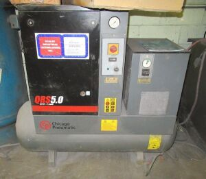 5HP CHICAGO PNEUMATIC MDL. QRS5HPD ROTARY SCREW TYPE AIR COMPRESSOR (LOCATED IN DEER PARK, NY)